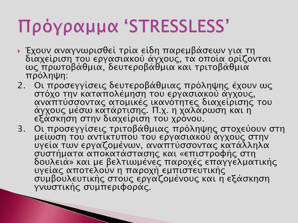  Έχουν αναγνωρισθεί τρία είδη παρεμβάσεων για τη διαχείριση του εργασιακού άγχους, τα οποία ορίζονται ως πρωτοβάθμια, δευτεροβάθμια και τριτοβάθμια πρόληψη: 2.