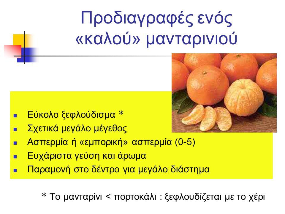 Προδιαγραφές ενός «καλού» μανταρινιού Εύκολο ξεφλούδισμα * Σχετικά μεγάλο μέγεθος Ασπερμία ή «εμπορική» ασπερμία (0-5) Ευχάριστα γεύση και άρωμα Παραμ
