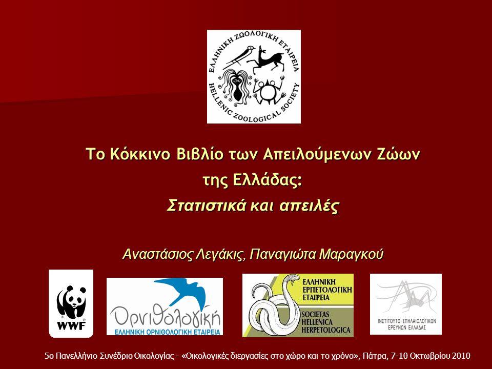 Το Κόκκινο Βιβλίο των Απειλούμενων Ζώων της Ελλάδας: Σ τατιστικά και απειλές Αναστάσιος Λεγάκις, Παναγιώτα Μαραγκού 5ο Πανελλήνιο Συνέδριο Οικολογίας - «Οικολογικές διεργασίες στο χώρο και το χρόνο», Πάτρα, 7-10 Οκτωβρίου 2010
