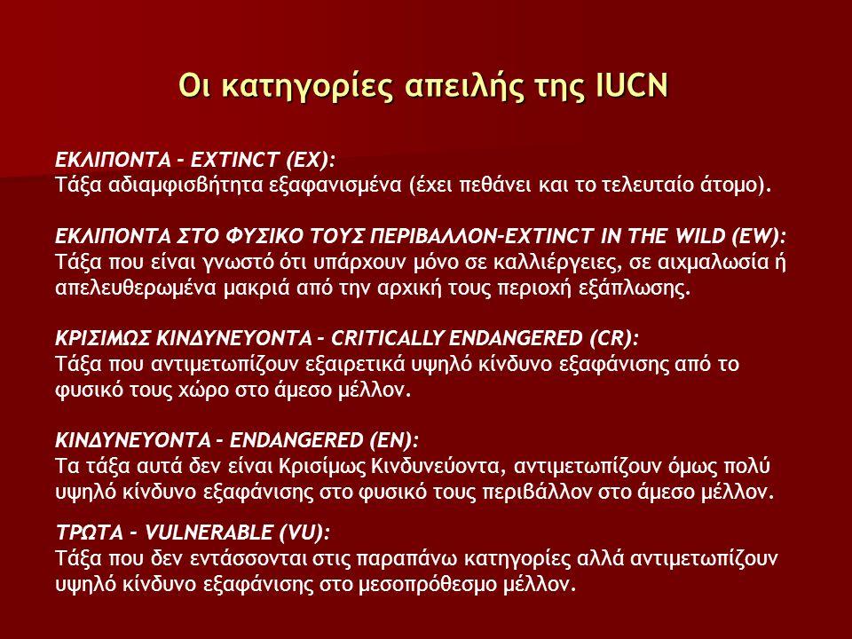 Οι κατηγορίες απειλής της IUCN ΕΚΛΙΠΟΝΤΑ - EXTINCT (ΕΧ): Τάξα αδιαμφισβήτητα εξαφανισμένα (έχει πεθάνει και το τελευταίο άτομο).