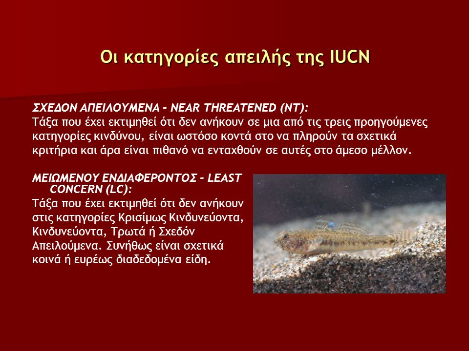 Οι κατηγορίες απειλής της IUCN ΣΧΕΔΟΝ ΑΠΕΙΛΟΥΜΕΝΑ - NEAR THREATENED (NT): Τάξα που έχει εκτιμηθεί ότι δεν ανήκουν σε μια από τις τρεις προηγούμενες κατηγορίες κινδύνου, είναι ωστόσο κοντά στο να πληρούν τα σχετικά κριτήρια και άρα είναι πιθανό να ενταχθούν σε αυτές στο άμεσο μέλλον.