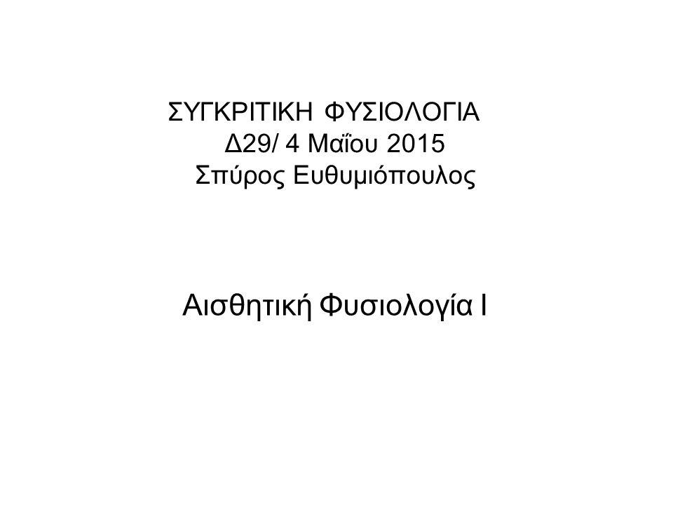 ΣΥΓΚΡΙΤΙΚΗ ΦΥΣΙΟΛΟΓΙΑ Δ29/ 4 Μαΐου 2015 Σπύρος Ευθυμιόπουλος Αισθητική Φυσιολογία Ι