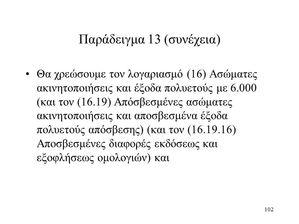 102 Παράδειγμα 13 (συνέχεια) Θα χρεώσουμε τον λογαριασμό (16) Ασώματες ακινητοποιήσεις και έξοδα πολυετούς με 6.000 (και τον (16.19) Απόσβεσμένες ασώματες ακινητοποιήσεις και αποσβεσμένα έξοδα πολυετούς απόσβεσης) (και τον (16.19.16) Αποσβεσμένες διαφορές εκδόσεως και εξοφλήσεως ομολογιών) και