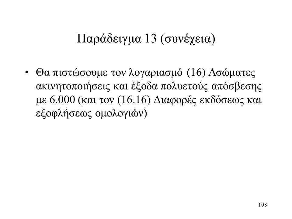 103 Παράδειγμα 13 (συνέχεια) Θα πιστώσουμε τον λογαριασμό (16) Ασώματες ακινητοποιήσεις και έξοδα πολυετούς απόσβεσης με 6.000 (και τον (16.16) Διαφορές εκδόσεως και εξοφλήσεως ομολογιών)
