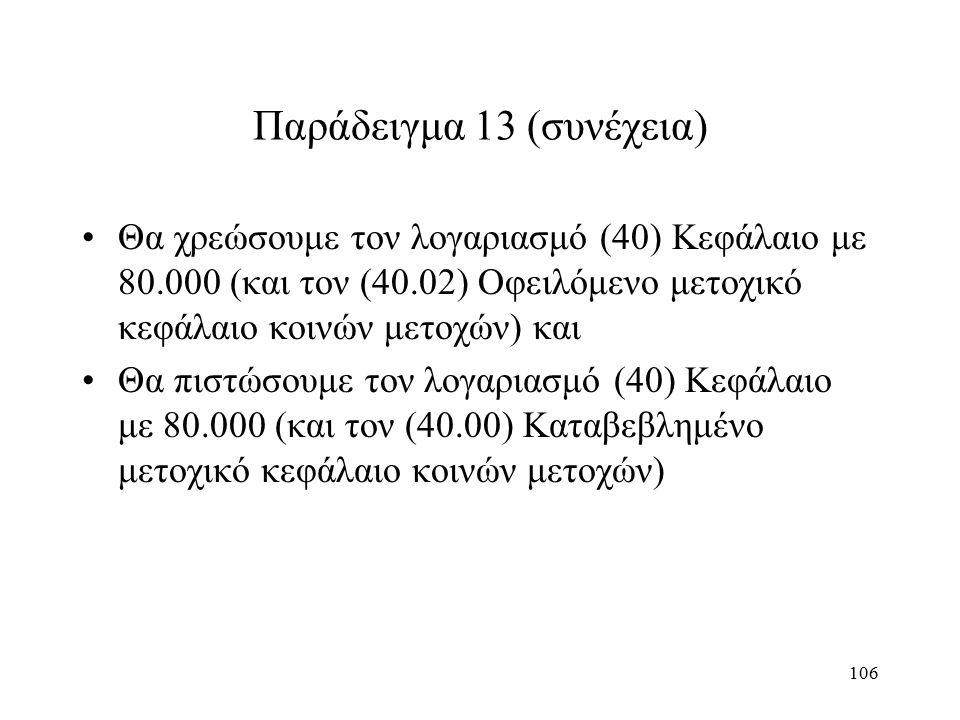 106 Παράδειγμα 13 (συνέχεια) Θα χρεώσουμε τον λογαριασμό (40) Κεφάλαιο με 80.000 (και τον (40.02) Οφειλόμενο μετοχικό κεφάλαιο κοινών μετοχών) και Θα πιστώσουμε τον λογαριασμό (40) Κεφάλαιο με 80.000 (και τον (40.00) Καταβεβλημένο μετοχικό κεφάλαιο κοινών μετοχών)