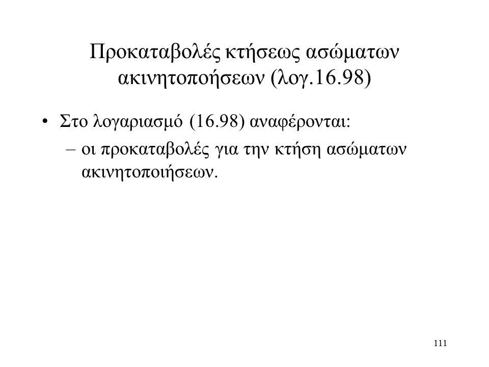 111 Προκαταβολές κτήσεως ασώματων ακινητοποήσεων (λογ.16.98) Στο λογαριασμό (16.98) αναφέρονται: –οι προκαταβολές για την κτήση ασώματων ακινητοποιήσεων.