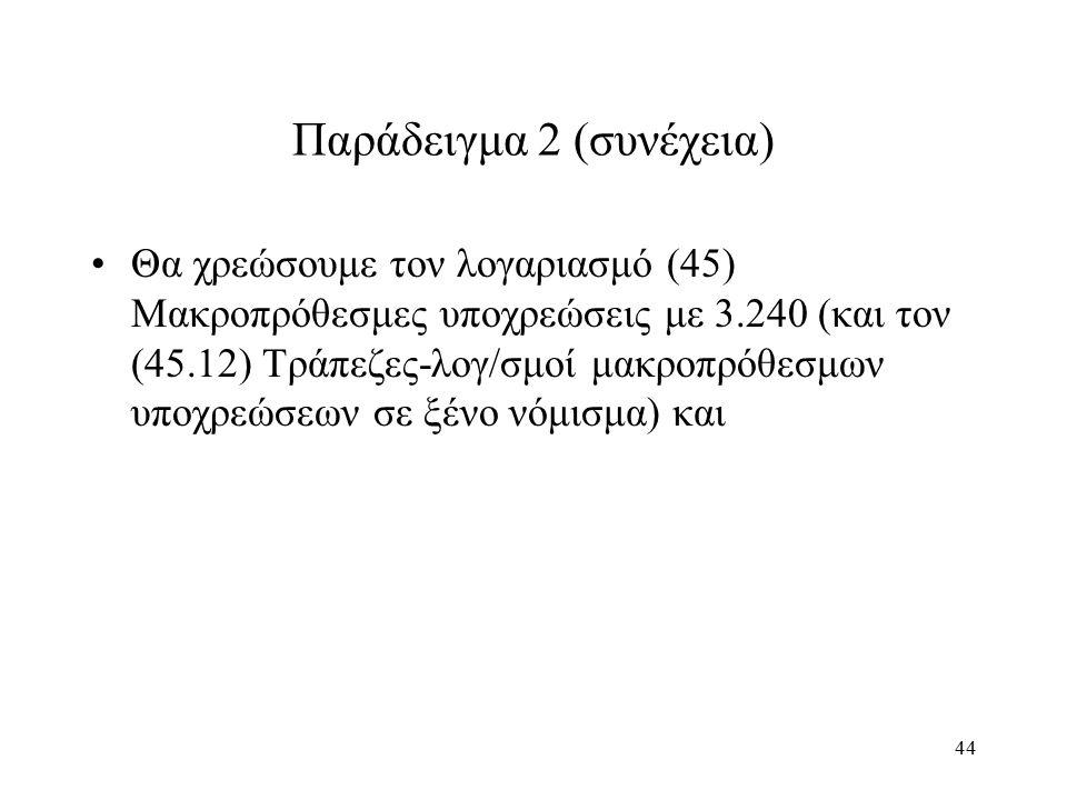 44 Παράδειγμα 2 (συνέχεια) Θα χρεώσουμε τον λογαριασμό (45) Μακροπρόθεσμες υποχρεώσεις με 3.240 (και τον (45.12) Τράπεζες-λογ/σμοί μακροπρόθεσμων υποχ