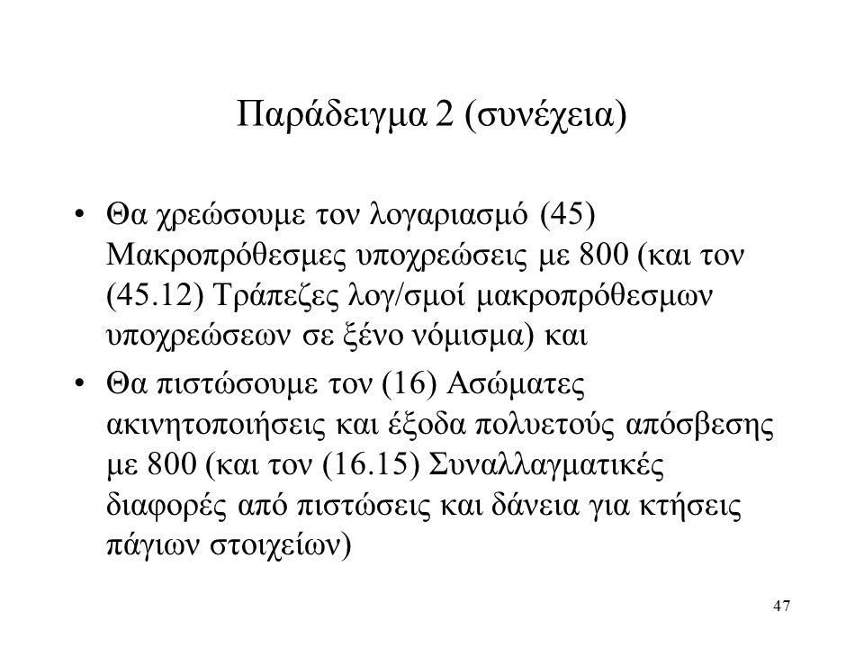 47 Παράδειγμα 2 (συνέχεια) Θα χρεώσουμε τον λογαριασμό (45) Μακροπρόθεσμες υποχρεώσεις με 800 (και τον (45.12) Τράπεζες λογ/σμοί μακροπρόθεσμων υποχρεώσεων σε ξένο νόμισμα) και Θα πιστώσουμε τον (16) Ασώματες ακινητοποιήσεις και έξοδα πολυετούς απόσβεσης με 800 (και τον (16.15) Συναλλαγματικές διαφορές από πιστώσεις και δάνεια για κτήσεις πάγιων στοιχείων)