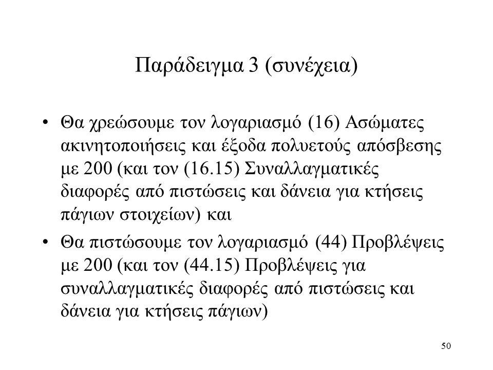 50 Παράδειγμα 3 (συνέχεια) Θα χρεώσουμε τον λογαριασμό (16) Ασώματες ακινητοποιήσεις και έξοδα πολυετούς απόσβεσης με 200 (και τον (16.15) Συναλλαγματικές διαφορές από πιστώσεις και δάνεια για κτήσεις πάγιων στοιχείων) και Θα πιστώσουμε τον λογαριασμό (44) Προβλέψεις με 200 (και τον (44.15) Προβλέψεις για συναλλαγματικές διαφορές από πιστώσεις και δάνεια για κτήσεις πάγιων)