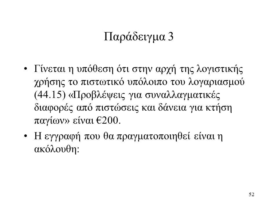52 Παράδειγμα 3 Γίνεται η υπόθεση ότι στην αρχή της λογιστικής χρήσης το πιστωτικό υπόλοιπο του λογαριασμού (44.15) «Προβλέψεις για συναλλαγματικές δι