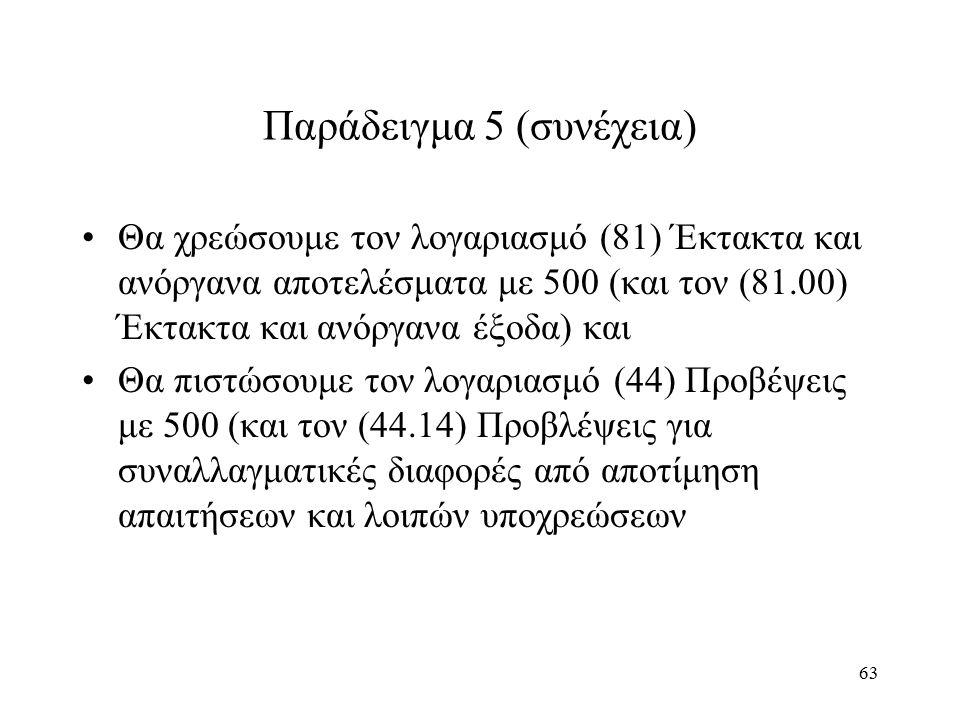 63 Παράδειγμα 5 (συνέχεια) Θα χρεώσουμε τον λογαριασμό (81) Έκτακτα και ανόργανα αποτελέσματα με 500 (και τον (81.00) Έκτακτα και ανόργανα έξοδα) και Θα πιστώσουμε τον λογαριασμό (44) Προβέψεις με 500 (και τον (44.14) Προβλέψεις για συναλλαγματικές διαφορές από αποτίμηση απαιτήσεων και λοιπών υποχρεώσεων