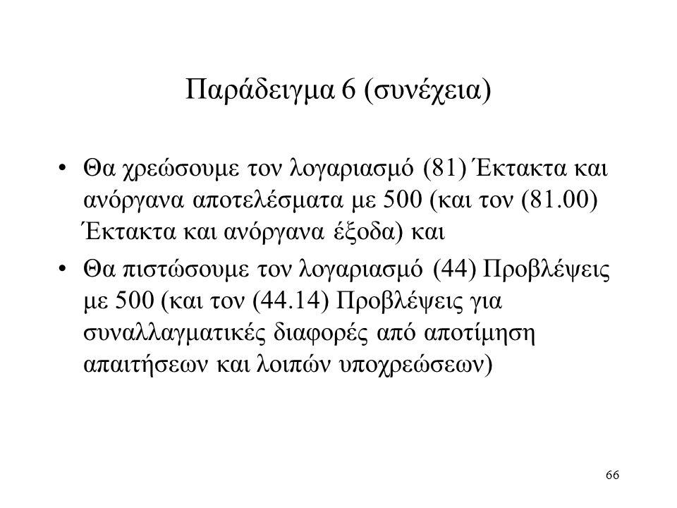 66 Παράδειγμα 6 (συνέχεια) Θα χρεώσουμε τον λογαριασμό (81) Έκτακτα και ανόργανα αποτελέσματα με 500 (και τον (81.00) Έκτακτα και ανόργανα έξοδα) και Θα πιστώσουμε τον λογαριασμό (44) Προβλέψεις με 500 (και τον (44.14) Προβλέψεις για συναλλαγματικές διαφορές από αποτίμηση απαιτήσεων και λοιπών υποχρεώσεων)