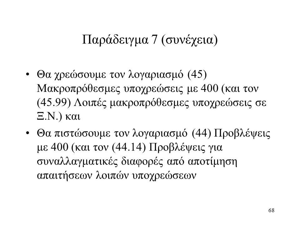 68 Παράδειγμα 7 (συνέχεια) Θα χρεώσουμε τον λογαριασμό (45) Μακροπρόθεσμες υποχρεώσεις με 400 (και τον (45.99) Λοιπές μακροπρόθεσμες υποχρεώσεις σε Ξ.Ν.) και Θα πιστώσουμε τον λογαριασμό (44) Προβλέψεις με 400 (και τον (44.14) Προβλέψεις για συναλλαγματικές διαφορές από αποτίμηση απαιτήσεων λοιπών υποχρεώσεων