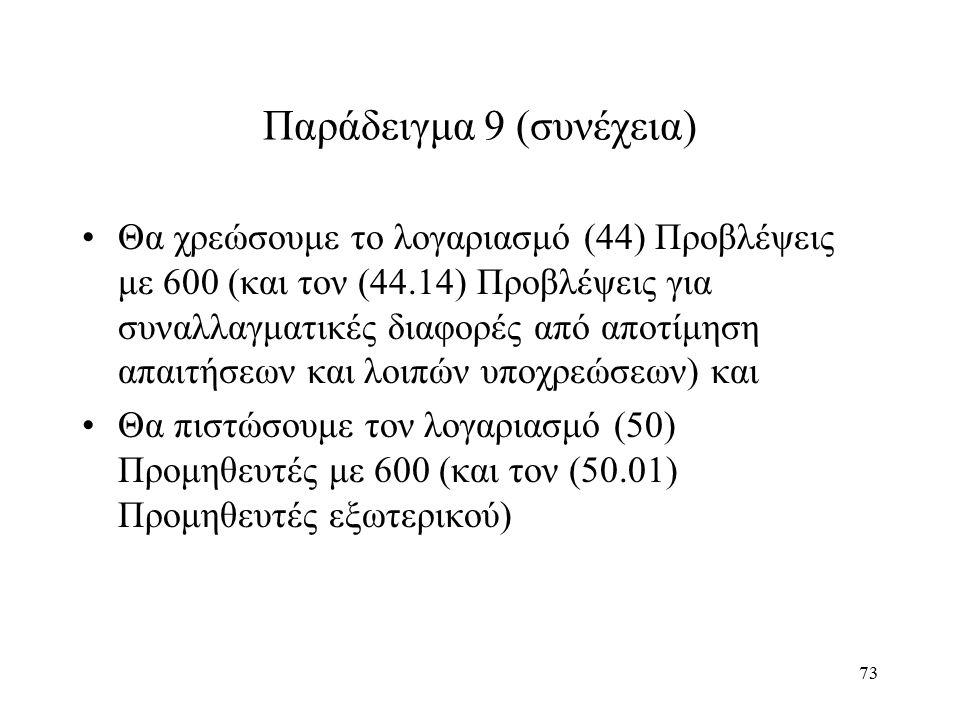 73 Παράδειγμα 9 (συνέχεια) Θα χρεώσουμε το λογαριασμό (44) Προβλέψεις με 600 (και τον (44.14) Προβλέψεις για συναλλαγματικές διαφορές από αποτίμηση απαιτήσεων και λοιπών υποχρεώσεων) και Θα πιστώσουμε τον λογαριασμό (50) Προμηθευτές με 600 (και τον (50.01) Προμηθευτές εξωτερικού)