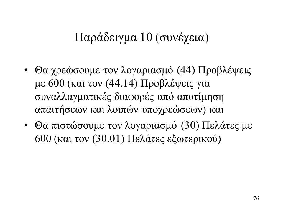 76 Παράδειγμα 10 (συνέχεια) Θα χρεώσουμε τον λογαριασμό (44) Προβλέψεις με 600 (και τον (44.14) Προβλέψεις για συναλλαγματικές διαφορές από αποτίμηση