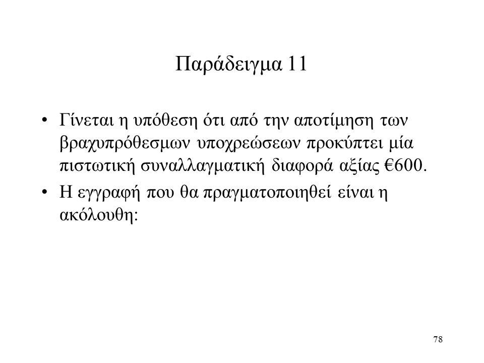 78 Παράδειγμα 11 Γίνεται η υπόθεση ότι από την αποτίμηση των βραχυπρόθεσμων υποχρεώσεων προκύπτει μία πιστωτική συναλλαγματική διαφορά αξίας €600. Η ε