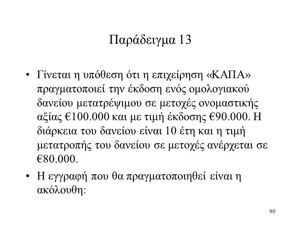 90 Παράδειγμα 13 Γίνεται η υπόθεση ότι η επιχείρηση «ΚΑΠΑ» πραγματοποιεί την έκδοση ενός ομολογιακού δανείου μετατρέψιμου σε μετοχές ονομαστικής αξίας €100.000 και με τιμή έκδοσης €90.000.