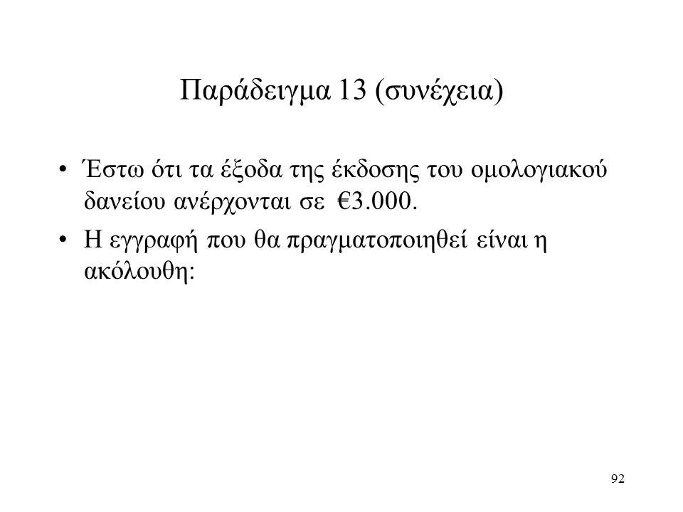 92 Παράδειγμα 13 (συνέχεια) Έστω ότι τα έξοδα της έκδοσης του ομολογιακού δανείου ανέρχονται σε €3.000. Η εγγραφή που θα πραγματοποιηθεί είναι η ακόλο
