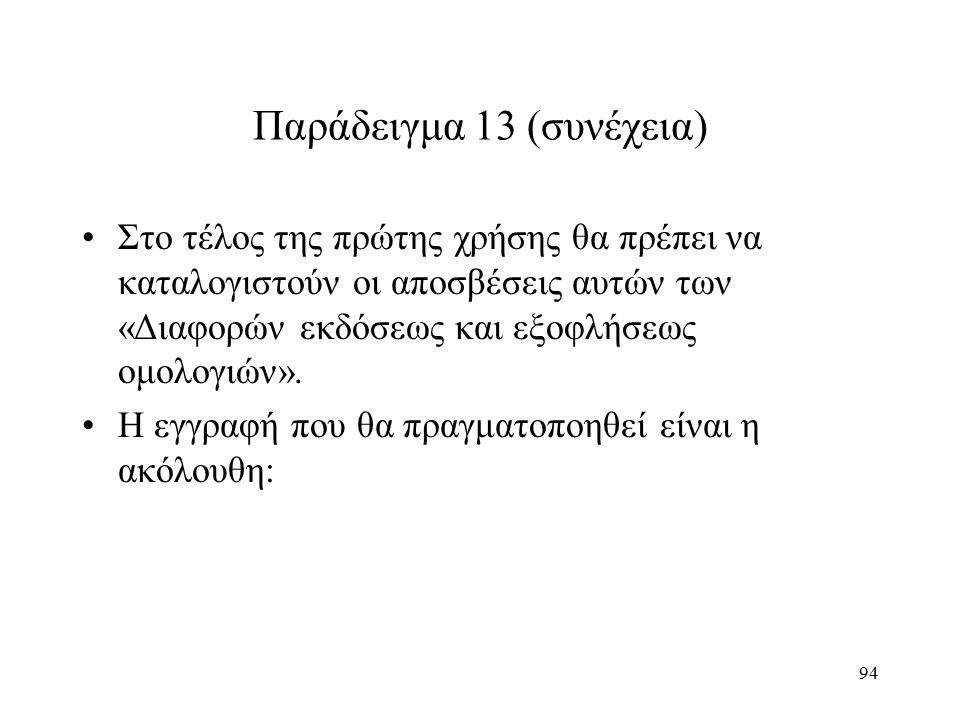 94 Παράδειγμα 13 (συνέχεια) Στο τέλος της πρώτης χρήσης θα πρέπει να καταλογιστούν οι αποσβέσεις αυτών των «Διαφορών εκδόσεως και εξοφλήσεως ομολογιών