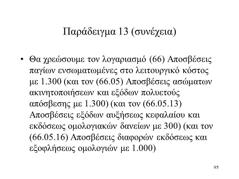 95 Παράδειγμα 13 (συνέχεια) Θα χρεώσουμε τον λογαριασμό (66) Αποσβέσεις παγίων ενσωματωμένες στο λειτουργικό κόστος με 1.300 (και τον (66.05) Αποσβέσεις ασώματων ακινητοποιήσεων και εξόδων πολυετούς απόσβεσης με 1.300) (και τον (66.05.13) Αποσβέσεις εξόδων αυξήσεως κεφαλαίου και εκδόσεως ομολογιακών δανείων με 300) (και τον (66.05.16) Αποσβέσεις διαφορών εκδόσεως και εξοφλήσεως ομολογιών με 1.000)
