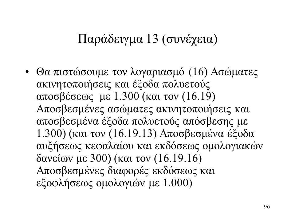 96 Παράδειγμα 13 (συνέχεια) Θα πιστώσουμε τον λογαριασμό (16) Ασώματες ακινητοποιήσεις και έξοδα πολυετούς αποσβέσεως με 1.300 (και τον (16.19) Αποσβεσμένες ασώματες ακινητοποιήσεις και αποσβεσμένα έξοδα πολυετούς απόσβεσης με 1.300) (και τον (16.19.13) Αποσβεσμένα έξοδα αυξήσεως κεφαλαίου και εκδόσεως ομολογιακών δανείων με 300) (και τον (16.19.16) Αποσβεσμένες διαφορές εκδόσεως και εξοφλήσεως ομολογιών με 1.000)
