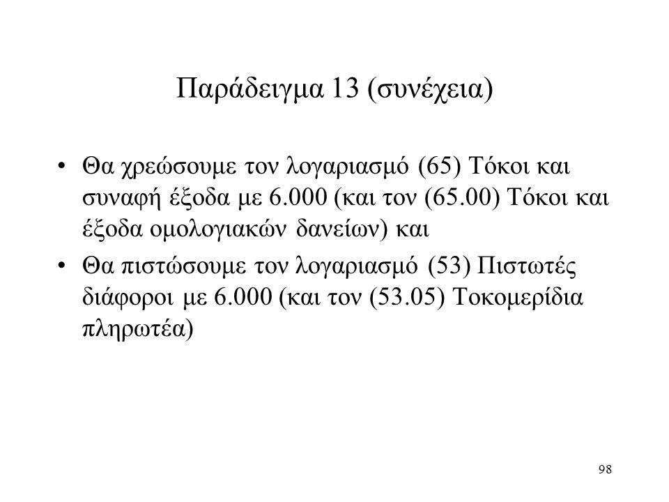 98 Παράδειγμα 13 (συνέχεια) Θα χρεώσουμε τον λογαριασμό (65) Τόκοι και συναφή έξοδα με 6.000 (και τον (65.00) Τόκοι και έξοδα ομολογιακών δανείων) και Θα πιστώσουμε τον λογαριασμό (53) Πιστωτές διάφοροι με 6.000 (και τον (53.05) Τοκομερίδια πληρωτέα)