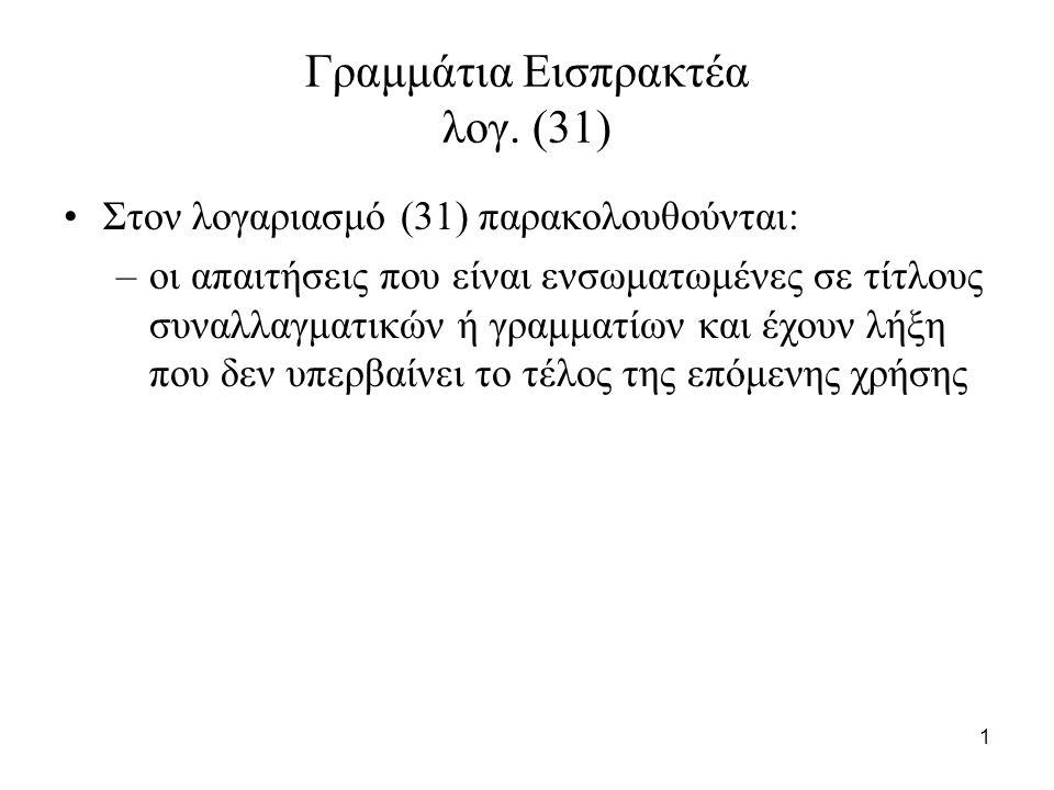 82 Παράδειγμα 3 (συνέχεια) Θα πιστώσουμε τον λογαριασμό (31) Γραμμάτια εισπρακτέα με 150.000 (και τον (31.04) Γραμμάτια μεταβιβασμένα σε τρίτους)