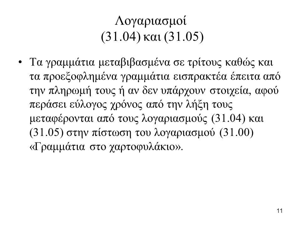 11 Λογαριασμοί (31.04) και (31.05) Τα γραμμάτια μεταβιβασμένα σε τρίτους καθώς και τα προεξοφλημένα γραμμάτια εισπρακτέα έπειτα από την πληρωμή τους ή αν δεν υπάρχουν στοιχεία, αφού περάσει εύλογος χρόνος από την λήξη τους μεταφέρονται από τους λογαριασμούς (31.04) και (31.05) στην πίστωση του λογαριασμού (31.00) «Γραμμάτια στο χαρτοφυλάκιο».