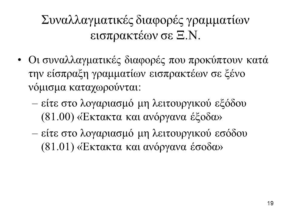 19 Συναλλαγματικές διαφορές γραμματίων εισπρακτέων σε Ξ.Ν.