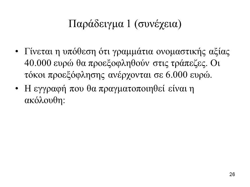 26 Παράδειγμα 1 (συνέχεια) Γίνεται η υπόθεση ότι γραμμάτια ονομαστικής αξίας 40.000 ευρώ θα προεξοφληθούν στις τράπεζες.