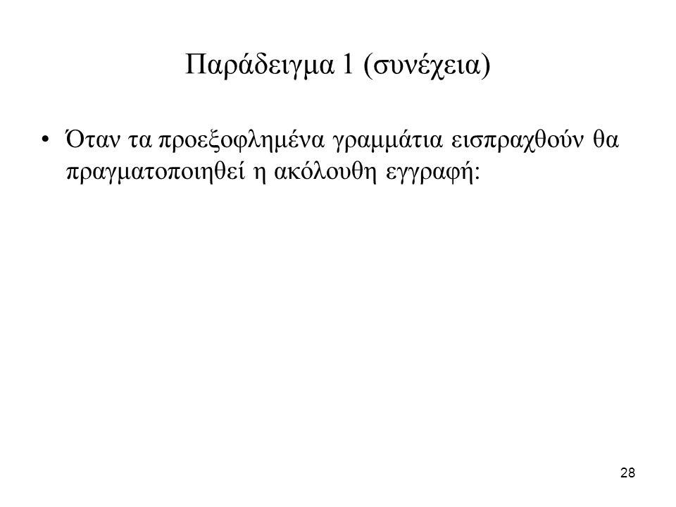 28 Παράδειγμα 1 (συνέχεια) Όταν τα προεξοφλημένα γραμμάτια εισπραχθούν θα πραγματοποιηθεί η ακόλουθη εγγραφή: