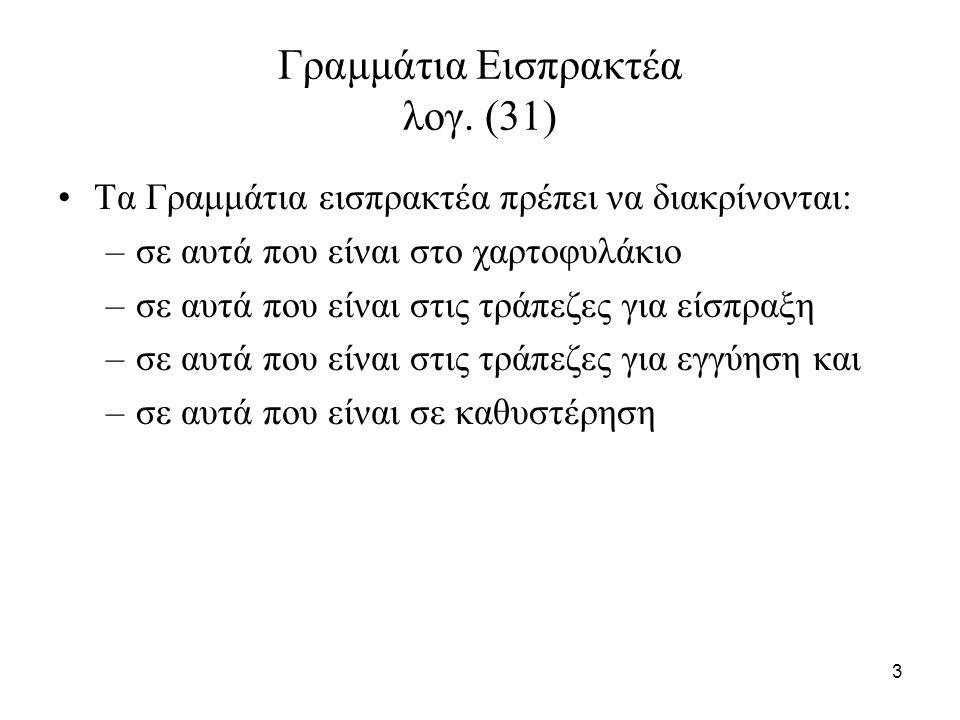 44 Παράδειγμα 2 (συνέχεια) Δεδομένου ότι τα γραμμάτια έληξαν θα πρέπει: –οι τόκοι που αναλογούσαν στην επόμενη χρήση και είχαν καταχωρηθεί στην χρέωση του λογαριασμού (36.00) «έξοδα επόμενων χρήσεων» να καταχωρηθούν στο λογαριασμό (65.02) «Προεξοφλητικοί τόκοι και έξοδα τραπεζών».