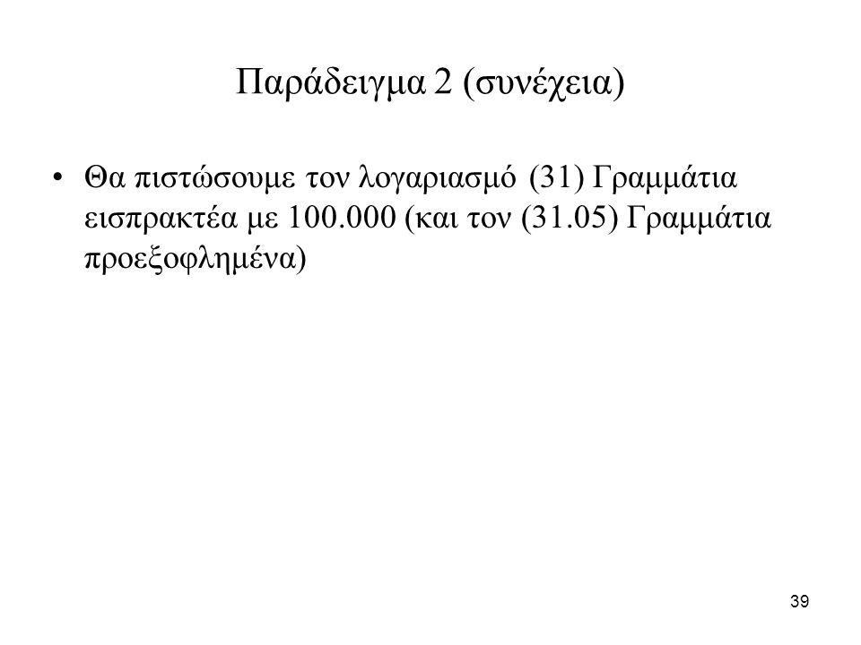 39 Παράδειγμα 2 (συνέχεια) Θα πιστώσουμε τον λογαριασμό (31) Γραμμάτια εισπρακτέα με 100.000 (και τον (31.05) Γραμμάτια προεξοφλημένα)