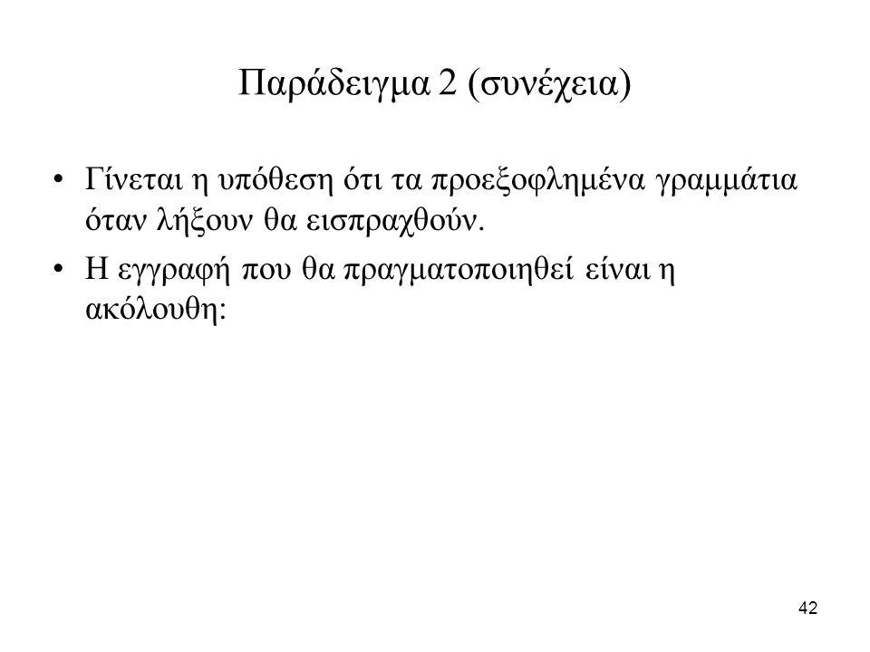 42 Παράδειγμα 2 (συνέχεια) Γίνεται η υπόθεση ότι τα προεξοφλημένα γραμμάτια όταν λήξουν θα εισπραχθούν.