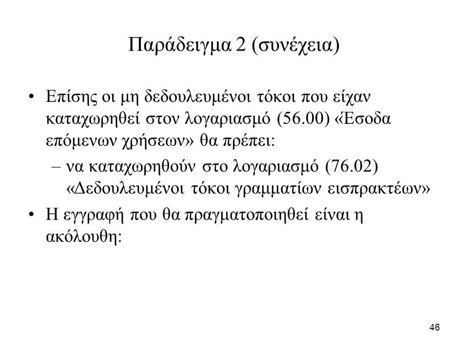 46 Παράδειγμα 2 (συνέχεια) Επίσης οι μη δεδουλευμένοι τόκοι που είχαν καταχωρηθεί στον λογαριασμό (56.00) «Έσοδα επόμενων χρήσεων» θα πρέπει: –να καταχωρηθούν στο λογαριασμό (76.02) «Δεδουλευμένοι τόκοι γραμματίων εισπρακτέων» Η εγγραφή που θα πραγματοποιηθεί είναι η ακόλουθη:
