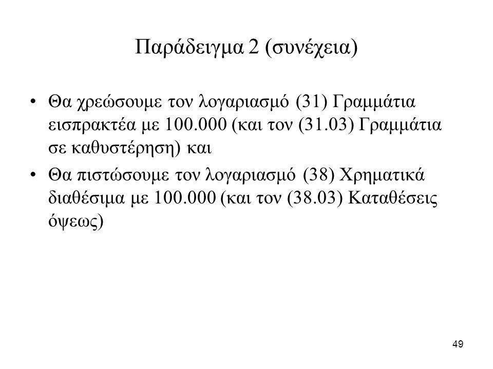 49 Παράδειγμα 2 (συνέχεια) Θα χρεώσουμε τον λογαριασμό (31) Γραμμάτια εισπρακτέα με 100.000 (και τον (31.03) Γραμμάτια σε καθυστέρηση) και Θα πιστώσουμε τον λογαριασμό (38) Χρηματικά διαθέσιμα με 100.000 (και τον (38.03) Καταθέσεις όψεως)