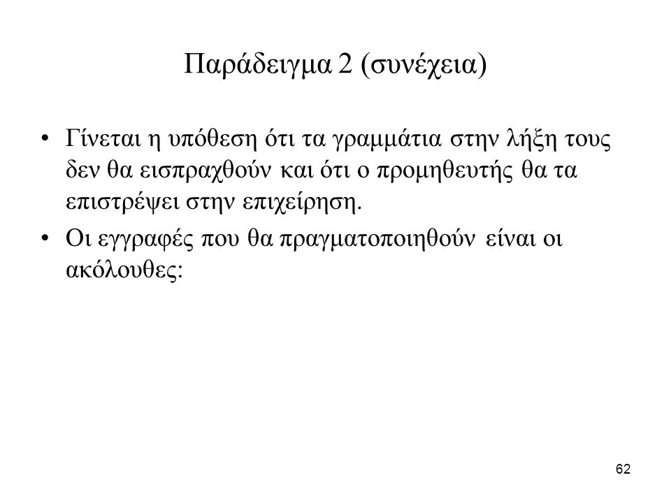 62 Παράδειγμα 2 (συνέχεια) Γίνεται η υπόθεση ότι τα γραμμάτια στην λήξη τους δεν θα εισπραχθούν και ότι ο προμηθευτής θα τα επιστρέψει στην επιχείρηση.
