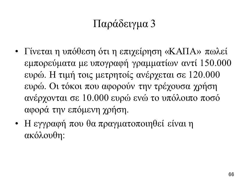 66 Παράδειγμα 3 Γίνεται η υπόθεση ότι η επιχείρηση «ΚΑΠΑ» πωλεί εμπορεύματα με υπογραφή γραμματίων αντί 150.000 ευρώ.