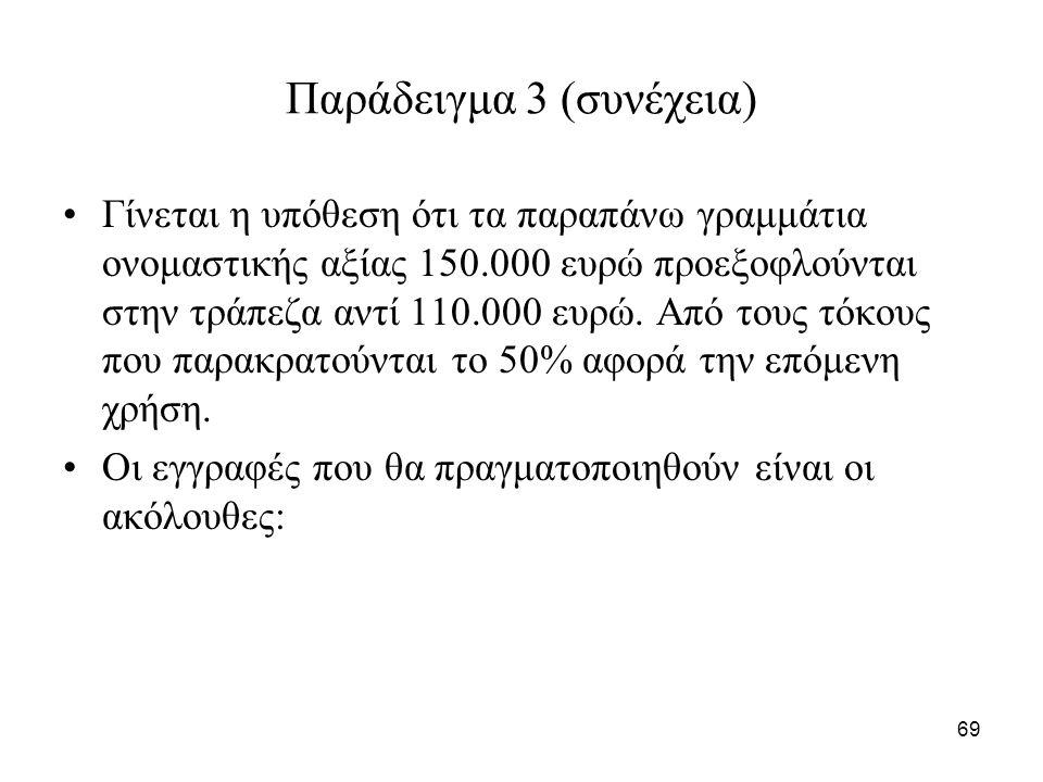 69 Παράδειγμα 3 (συνέχεια) Γίνεται η υπόθεση ότι τα παραπάνω γραμμάτια ονομαστικής αξίας 150.000 ευρώ προεξοφλούνται στην τράπεζα αντί 110.000 ευρώ.