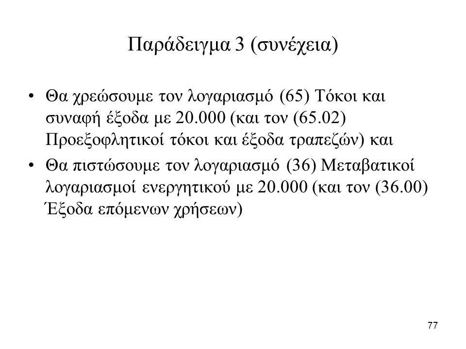 77 Παράδειγμα 3 (συνέχεια) Θα χρεώσουμε τον λογαριασμό (65) Τόκοι και συναφή έξοδα με 20.000 (και τον (65.02) Προεξοφλητικοί τόκοι και έξοδα τραπεζών) και Θα πιστώσουμε τον λογαριασμό (36) Μεταβατικοί λογαριασμοί ενεργητικού με 20.000 (και τον (36.00) Έξοδα επόμενων χρήσεων)