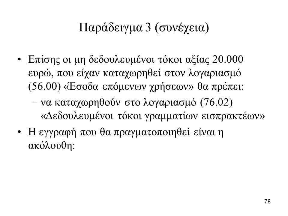 78 Παράδειγμα 3 (συνέχεια) Επίσης οι μη δεδουλευμένοι τόκοι αξίας 20.000 ευρώ, που είχαν καταχωρηθεί στον λογαριασμό (56.00) «Έσοδα επόμενων χρήσεων» θα πρέπει: –να καταχωρηθούν στο λογαριασμό (76.02) «Δεδουλευμένοι τόκοι γραμματίων εισπρακτέων» Η εγγραφή που θα πραγματοποιηθεί είναι η ακόλουθη: