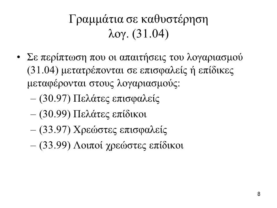59 Παράδειγμα 2 (συνέχεια) Γίνεται η υπόθεση ότι στην λήξη τους τα μεταβιβασμένα γραμμάτια θα εισπραχθούν.