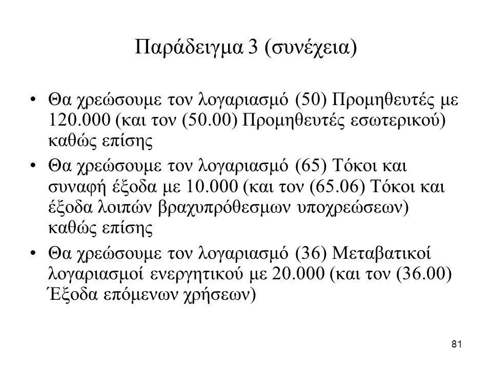 81 Παράδειγμα 3 (συνέχεια) Θα χρεώσουμε τον λογαριασμό (50) Προμηθευτές με 120.000 (και τον (50.00) Προμηθευτές εσωτερικού) καθώς επίσης Θα χρεώσουμε τον λογαριασμό (65) Τόκοι και συναφή έξοδα με 10.000 (και τον (65.06) Τόκοι και έξοδα λοιπών βραχυπρόθεσμων υποχρεώσεων) καθώς επίσης Θα χρεώσουμε τον λογαριασμό (36) Μεταβατικοί λογαριασμοί ενεργητικού με 20.000 (και τον (36.00) Έξοδα επόμενων χρήσεων)