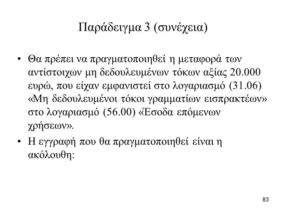 83 Παράδειγμα 3 (συνέχεια) Θα πρέπει να πραγματοποιηθεί η μεταφορά των αντίστοιχων μη δεδουλευμένων τόκων αξίας 20.000 ευρώ, που είχαν εμφανιστεί στο λογαριασμό (31.06) «Μη δεδουλευμένοι τόκοι γραμματίων εισπρακτέων» στο λογαριασμό (56.00) «Έσοδα επόμενων χρήσεων».