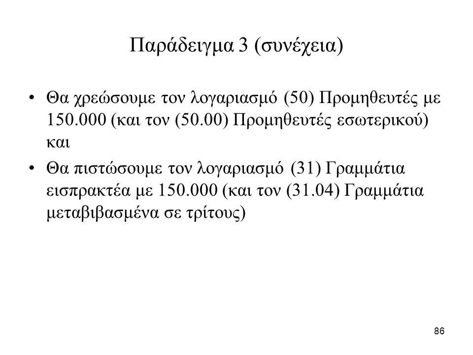 86 Παράδειγμα 3 (συνέχεια) Θα χρεώσουμε τον λογαριασμό (50) Προμηθευτές με 150.000 (και τον (50.00) Προμηθευτές εσωτερικού) και Θα πιστώσουμε τον λογαριασμό (31) Γραμμάτια εισπρακτέα με 150.000 (και τον (31.04) Γραμμάτια μεταβιβασμένα σε τρίτους)