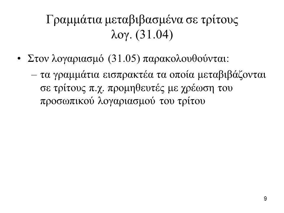 10 Γραμμάτια προεξοφλημένα λογ (31.05) Στον λογαριασμό (31.05) παρακολουθούνται: –τα γραμμάτια εισπρακτέα τα οποία προεξοφλούνται με χρέωση του λογαριασμού (38) «Χρηματικά διαθέσιμα» για το προιόν της προεξοφλήσεως και του λογαριασμού (65.02) «προεξοφλητικοί τόκοι και έξοδα τραπεζών» για τους τόκους και τα έξοδα προεξοφλήσεως