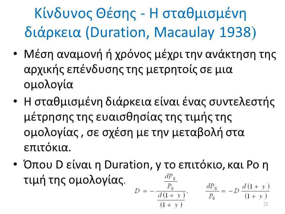 Κίνδυνος Θέσης - Η σταθμισμένη διάρκεια (Duration, Macaulay 1938 ) Μέση αναμονή ή χρόνος μέχρι την ανάκτηση της αρχικής επένδυσης της μετρητοίς σε μια ομολογία Η σταθμισμένη διάρκεια είναι ένας συντελεστής μέτρησης της ευαισθησίας της τιμής της ομολογίας, σε σχέση με την μεταβολή στα επιτόκια.