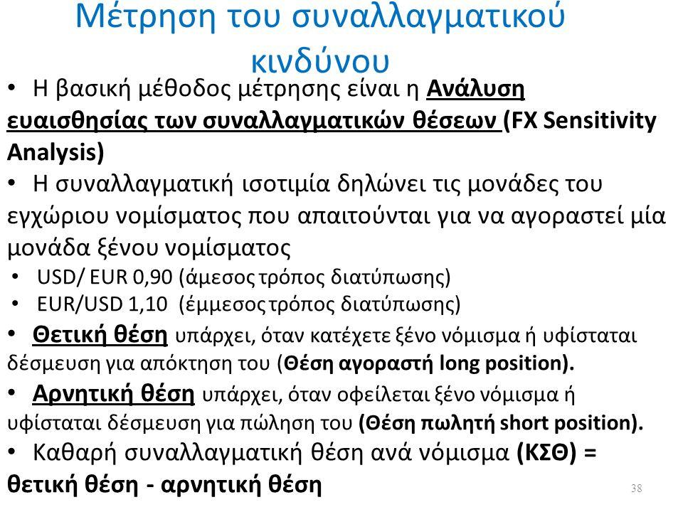 Μέτρηση του συναλλαγματικού κινδύνου H βασική μέθοδος μέτρησης είναι η Ανάλυση ευαισθησίας των συναλλαγματικών θέσεων (FX Sensitivity Analysis) Η συναλλαγματική ισοτιμία δηλώνει τις μονάδες του εγχώριου νομίσματος που απαιτούνται για να αγοραστεί μία μονάδα ξένου νομίσματος USD/ EUR 0,90 (άμεσος τρόπος διατύπωσης) EUR/USD 1,10 (έμμεσος τρόπος διατύπωσης) Θετική θέση υπάρχει, όταν κατέχετε ξένο νόμισμα ή υφίσταται δέσμευση για απόκτηση του (Θέση αγοραστή long position).