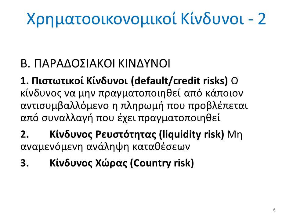 Χρηματοοικονομικοί Κίνδυνοι - 2 Β. ΠΑΡΑΔΟΣΙΑΚΟΙ ΚΙΝΔΥΝΟΙ 1.