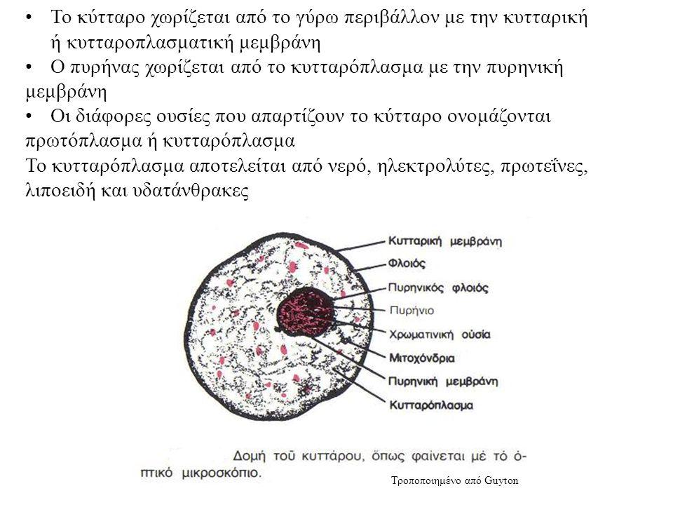 Το κύτταρο χωρίζεται από το γύρω περιβάλλον με την κυτταρική ή κυτταροπλασματική μεμβράνη Ο πυρήνας χωρίζεται από το κυτταρόπλασμα με την πυρηνική μεμβράνη Οι διάφορες ουσίες που απαρτίζουν το κύτταρο ονομάζονται πρωτόπλασμα ή κυτταρόπλασμα Το κυτταρόπλασμα αποτελείται από νερό, ηλεκτρολύτες, πρωτεΐνες, λιποειδή και υδατάνθρακες Τροποποιημένο από Guyton